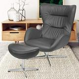 Flash Furniture Gray LeatherSoft Swivel Wing Chair and Ottoman Set