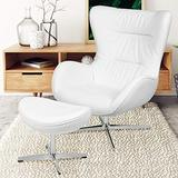 Flash Furniture White LeatherSoft Swivel Wing Chair and Ottoman Set