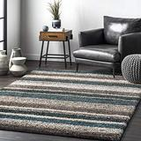 nuLOOM Classie Hand Tufted Shag Area Rug, 5' Square, Blue Multi