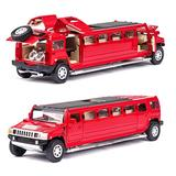 NMBZ high Simulation 1:32 Alloy for Hummer Limousine Metal diecast car Model Pull Back Flashing Musical Kids Toy Vehicles Aluminum Alloy Car Mode (Color : Red)