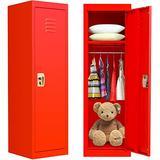 Kids Locker Cabinet, Metal Kids Storage Locker with Lock, Red Locking Kids Coat Locker with Shelves and Hanging Rod for Home, Bedroom, Kids Room, School, Classroom (Steel Frame, 2 Keys Included)