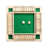 1-4 Players Shut The Box Dice Game, Classic Wooden Board Game with Dice Learning & Education Toys for Kids Adults, Tabletop Toy and Pub Board Game for Learning Numbers, Strategy & Risk