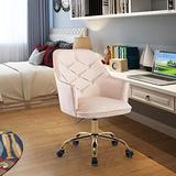 HomVent Upholstered Swivel Chair, Modern Design Accent Arm Chair, Velvet Desk Chair Leisure Arm Chair Adjustable Swivel Task Stool with Gold Plating Base for Living Room/Bedroom/Office (Beige)