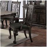 """Bloomsbury Market Aneko Queen Anne Back Arm Chair Upholstery, Frame, Wood/Fabric/Upholstered in Dark Gray, Size 26.5"""" L x 23"""" W x 42.5"""" H 