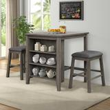 Red Barrel Studio® Blankumsee 3 - Piece Counter Height Dining Set Wood/Upholstered Chairs in Brown/Gray, Size 36.0 H x 30.0 W x 36.0 D in   Wayfair