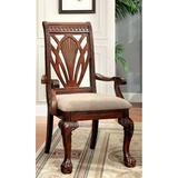 """Bloomsbury Market Aneko Queen Anne Back Arm Chair Upholstery Color: Tan in Tan/Cherry, Size 26.5"""" L x 23"""" W x 42.5"""" H 