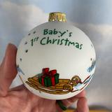 Disney Holiday   Disney Pooh Babys First Christmas Ball Ornament   Color: White   Size: Os