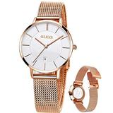 OLEVS Fashion Elegant Ladies White Watch Rose Gold Mesh Stainless Steel Bracelet Wristwatches,Ultra Thin Watch Women,Womens Analog Quartz Watch for Ladies,Female Casual with Day Lady Watch