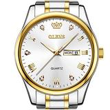 Silver Gold Men Watches Fashion White Face Casual Date Day Watches Waterproof Metal Wrist Watches for Man Classic Stainless Steel Analog Quartz Watch OLEVS Men's Wristwatches relojes de Hombre