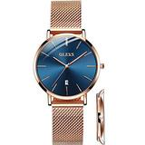 OLEVS Rose Gold Watches for Ladies Ultra Thin Watch Women's Bracelet Watch Gold Blue Dial Waterproof Dress Wristwatches Simple Elegant Lady Watches with Day Classic Stainless Steel Mesh Watches