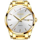 Gold Watch Mens Fashion Analog Quartz Wrist Watch for Men White Dial Big Face Watches with Day and Date Watches Stainless Steel Simple Business Luxury OLEVS Dress Watches for Male Slim Wristwatches