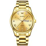 OLEVS All Gold Quartz Watches for Men Stainless Steel Strap Gold Face Wrist Watch Fashion Men's Day Date Young Quartz Wrist Watches Metal Waterproof Dress Business Watches Casual Gift Wristwatches