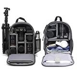 Cwatcun Camera Backpack Bag Professional for DSLR/SLR Mirrorless Camera Waterproof, Camera Case Compatible with Sony Canon Nikon Camera and Lens Tripod Accessories (Small-Grey)
