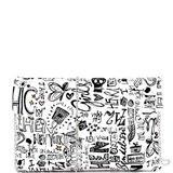 Retro Vintage Multicolor Colorful Graffiti Vegan Leather Tote Purse Handbag (Envelope Clutch - White)