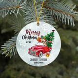 Merry Christmas Tree Car Ornaments 2020 With Name City State Charlottesville Virginia Xmas Ornaments for Holidays Party Decoration Ornament Home Decor Funny Gift Together Family Friend