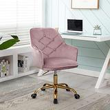 Goujxcy Velvet Desk Chair, Modern Upholstered Home Office Chair 360°Swivel Task Chair with Gold Base Height Adjustable Computer Chair for Teens Adults Bedroom Study Room (Ty2-Pink)