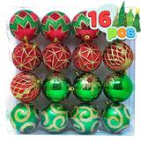 """Joiedomi 16 Pcs 3.15"""" Red, Green and Gold Christmas Ornaments, Shatterproof Christmas Ornaments for Holidays, Party Decoration, Tree Ornaments, and Events"""