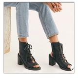 Free People Shoes | Free People City Of Lights Black Booties Sz 7 Nib | Color: Black | Size: 7