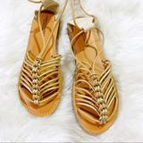 American Eagle Outfitters Shoes | American Eagle Nwot Strappy Lace Up Sandal Size 8 | Color: Gold/Tan | Size: 8
