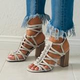 Urban Outfitters Shoes | Gray Bone Chunky Heel Lace Up Gladiator Sandal | Color: Cream | Size: Various