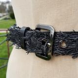 Burberry Accessories | Burberry Belt Snakeskin Reptile Fringed Leather | Color: Black/Silver | Size: 40