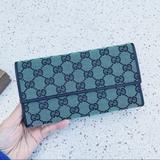 Gucci Bags | Nwt Authentic Gucci Woven Gg Clutch Wallet | Color: Black/Green | Size: Os