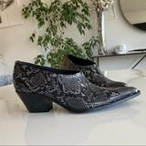 Zara Shoes | Animal Snake Print Cowboy Heeled Ankle New Booties | Color: Black/Gray | Size: 9