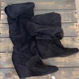 Nine West Shoes | Black Faux Suede Knee High Boots | Color: Black | Size: 8