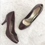 Nine West Shoes | 5$25 Nine West Leather Peep Toe Pumps | Color: Purple | Size: 9