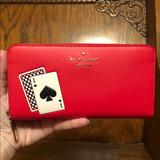Kate Spade Bags | Kate Spade-Lucky Draw-Playing Card-Lg Zip Wallet | Color: Black/Red | Size: Os
