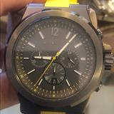 Michael Kors Accessories   Dylan Chronograph Dark Grey Dial Yellow Silicone   Color: Yellow   Size: 48mm
