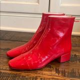 J. Crew Shoes   J Crew Cap-Toe Ankle Boots In Patent Leather J9989   Color: Red   Size: Various