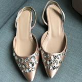 J. Crew Shoes   J. Crew Embellished Satin Slingback Flat   Color: Cream/Pink   Size: 6