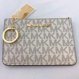 Michael Kors Bags | Mk Jst Coin Key Chain Card Holder Wallet Vanilla | Color: Brown/Gold | Size: Os