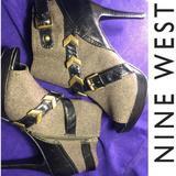 Nine West Shoes | Nine West 'Campaign' Peep Toe Booties-Size 8.5 | Color: Black/Green | Size: 8.5