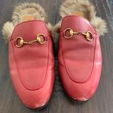 Gucci Shoes | Gucci Red Leather Fur Princetown Mules Shoes 37 | Color: Red | Size: 7