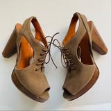 Madewell Shoes | Madewell Sz 7 Peekaboo Slingback Platform Sandals | Color: Brown | Size: 7
