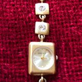 Nine West Accessories | Nine West Brushed Gold Watch With Faux Diamonds | Color: Gold | Size: Os