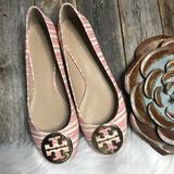 Tory Burch Shoes | New Tory Burch Reva Flats 10m Ivory Red Striped | Color: Gold/Red | Size: 10