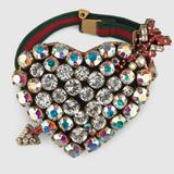 Gucci Jewelry   Gucci Web Crystal Heart Bracelet In Red   Color: Green/Red   Size: 2.25 X 2.75 Heart