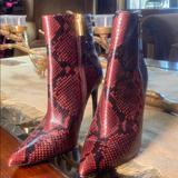 Michael Kors Shoes | Michael Kors Keke Snakeskin Leather Ankle Boots | Color: Black/Red | Size: 8