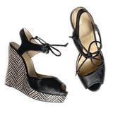 Nine West Shoes   Nine West Woven Platform Peep Toe Wedge 7.5   Color: Black/White   Size: 7.5