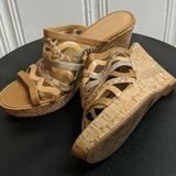 Nine West Shoes | Nine West Mule Strappy Sandal (7.5m) | Color: Gold/Silver | Size: 7.5