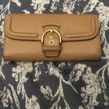 Coach Bags | New Coachcampbelltan Leather Buckle Bifold Wallet | Color: Tan | Size: Os