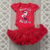 Disney Matching Sets | Disney And Cat & Jack Holiday Set New | Color: Red | Size: 0-3mb