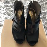 Michael Kors Shoes | Michael Kors Peep Toe Booties | Color: Black | Size: 9