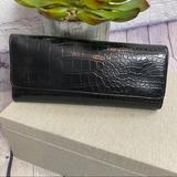 Nine West Bags | Nine West Black Alligator Trifold Wallet | Color: Black | Size: Os