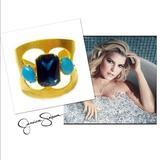 Jessica Simpson Jewelry | Jessica Simpson Cuff Bangle Statement Bracelet | Color: Blue/Gold | Size: Length Of Bracelet: ~7.5 -Adjustableslip-On