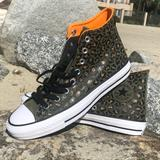 Converse Shoes | Leather Leopard Print Converse | Color: Green | Size: Mens 8.5, Womens 10.5