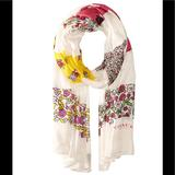 Coach Accessories   Coach Women'S Floral Patchwork Oblong Scarf Wrap   Color: Cream/Pink   Size: Os